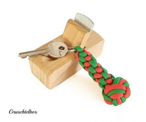 Geflochtener Schlüsselanhänger mit Diamantknoten, zweifarbig, verschiedene Farben  - Handarbeit kaufen