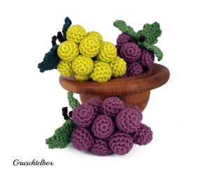 gehäkelte Weintrauben aus Baumwolle in grün und violett, 3-teiliges Set