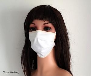 handgefertigte Behelfsmaske 2-lagig aus 100% Baumwolle zum Binden