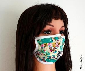 Mund- und Nasenmaske, 2-lagig aus  Baumwolle zum Binden mit Nasenbügel