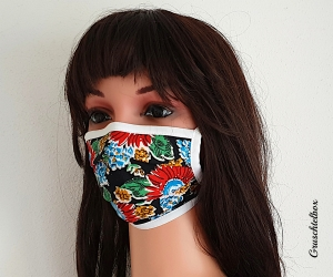 Mehrweg Mund-Nasen-Maske, Communitymaske aus Baumwolle mit Nasenbügel zum Binden