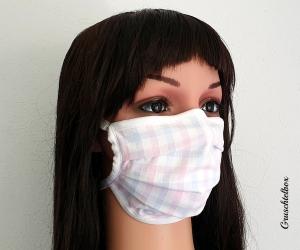 Mehrweg Mund-Nasen-Maske, Communitymaske aus Baumwolle mit Nasenbügel zum Binden in zartem Pastell