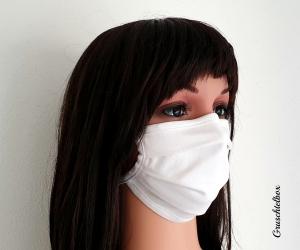 Mund-Nasen-Maske aus Baumwolle mit Nasenbügel zum Binden  in klassischem weiß