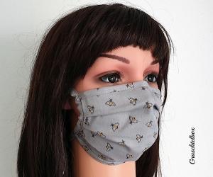 Mund- Nasen- Maske, 2-lagig aus  Baumwolle zum Binden mit Nasenbügel