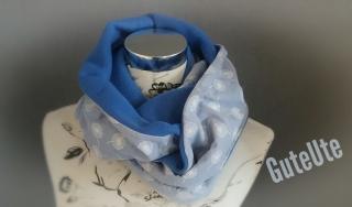 Schlauchschal zum Wenden mit Pusteblumen, blau, Handgemacht, genäht