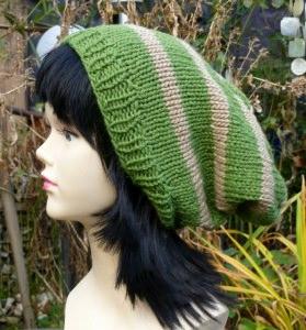 Grün - beige Longbeanie, Mütze; Slouch -oversize