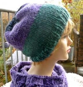 Mütze**Beanie***lila-petrol**mit Alpaka***onesize