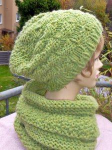 Mütze**Beanie***grün**mit Alpaka***onesize