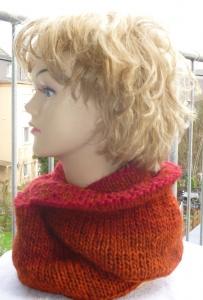Wendeloop aus reiner Islandwolle**Doubleface**rot-orange