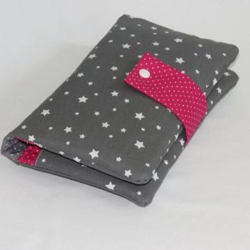 Wickeltasche / Windeltasche  XL ~ 4 große Fächer ~ Sterne grau/pink