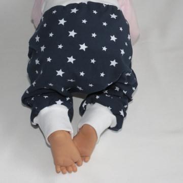 Babyhose ~ Pumphose ~ Mitwachshose ~ Größe 62/68 ~ Sterne marine/weiß