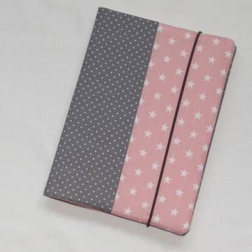 U-Heft-Hülle ~ 2 Extrafächer ~ Sterne rosa/grau ~ versandfertig
