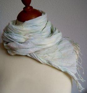 10%  SALE - Crinkle-Schal mit Fransen in Pastelltönen   - Handarbeit kaufen