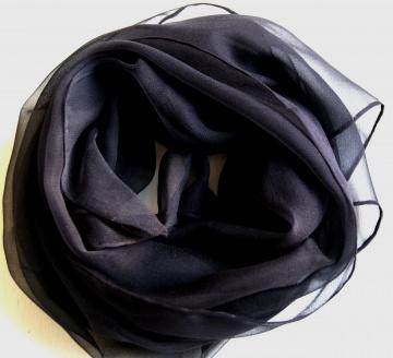 Chiffonschal - schwarz uni - ca.45x180cm  - Handarbeit kaufen