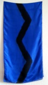 Seidenschal - ROYALBLAU mit schwarzer Zick-Zack-Linie - ca.45x180cm - Handarbeit kaufen
