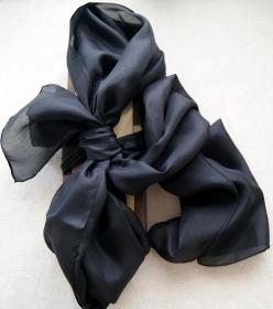Seidenschal - schwarz uni - ca.40x150cm - 100% Seide