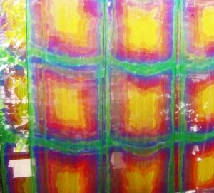 34* // Chiffonschal - 'vier Quadrate' in intensiven Regenbogenfarben - ca.45x180cm - 100% Seide  - Handarbeit kaufen