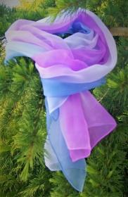21 // Streifen-Chiffonschal/Hutschal - rotviolett/hellblau - ca.45x180cm - 100% Seide - Handarbeit kaufen