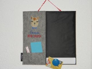 Kreidetafel, Memoboard, Pinnwand, Türschild, bestickt, zur individuellen Beschriftung mit Kreide, handgefertigt, genäht - Handarbeit kaufen