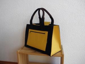 Stabiler Shopper aus Wollfilz in braun und gelb, große Tasche, von Dieda, handgemacht - Handarbeit kaufen