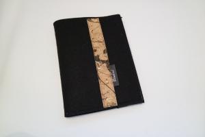 Schreibmappe DIN A5 für Schreibblöcke mit Stiftehalterung, aus Wollfilz mit Korkstoff, eine Dieda