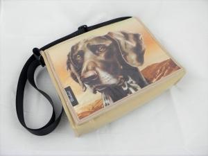 Hingucker! Tasche aus LKW-Plane mit Hundekopf, beige, Plane, Hundetasche, Labrador, Upcycling, robust, wasserabweisend, Unikat von Dieda!