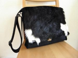 Kuhfelltasche, große Tasche aus Wollfilz, mit Kuhfell, Messenger Tasche, für Aktenordner, Herrentasche, von Dieda handgemacht!