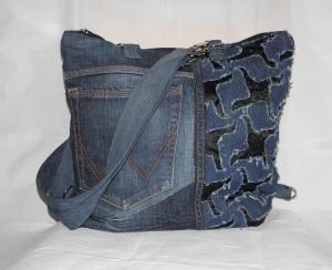 Jeanshosentasche, auch als Rucksack tragbar, Schultertasche, aus Jeanshose, Upcycling, eine Dieda kaufen