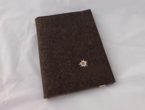 Edle Schreibmappe A4, aus Wollfilz incl. Schreibblock, braun, zweifarbiger Filz, bestickt, Edelweiß, handgemacht, dieda - Handarbeit kaufen
