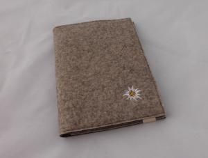 schicke Schreibmappe A5, aus Wollfilz incl. Schreibblock, braun, zweifarbiger Filz, bestickt, Edelweiß, handgemacht, dieda - Handarbeit kaufen
