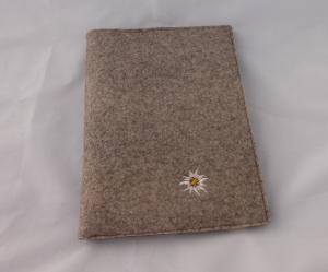 hellbraune Schreibmappe A4, aus Wollfilz incl. Schreibblock, braun, zweifarbiger Filz, bestickt, Edelweiß, handgemacht, dieda