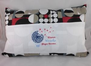 Pusteblume, Wünsche, Sofakissen, Dekokissen 40 x 60 cm mit 3 Taschen für Buch, Fernbedienung, handgemacht von Dieda - Handarbeit kaufen