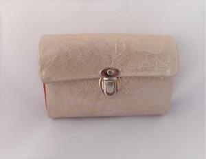 edle Geldbörse, aus weiß/goldenem Leder, echtes Leder, mit Maserung, orange grün schimmernder Stoff, 12 Kartenfächer, Geldbeutel, little Ruby, handgemacht von Dieda - Handarbeit kaufen