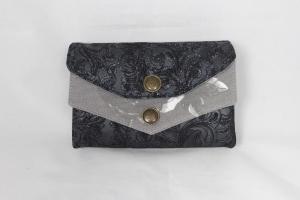WITTsich Geldbörse, Portmoney-Genius, aus Leder in schwarz glitzernd mit Muster,  11 Kartenfächer, großer Geldbeutel, handgemacht von Dieda - Handarbeit kaufen