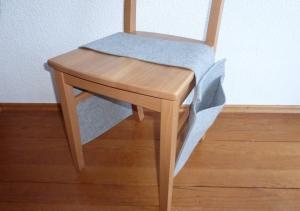 Notentasche, für den Stuhl, doppelt, grau, Tischharfe, Veeh Harfe, reiner Wollfilz, handgemacht von Dieda!