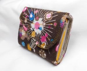Mini Geldbörse, Minigeldbeutel, Portolino, braun, Vögelchen, Innen weiß und gelb, 6 Kartenfächer, handgemacht von Dieda - Handarbeit kaufen