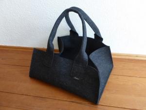 Transporttasche für Kuchenformen, Backformen, Shopper aus Wollfilz, anthrazit, große Tasche, Kaminholztasche, von Dieda, handgemacht - Handarbeit kaufen