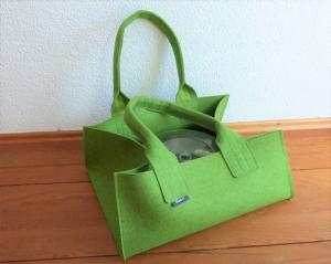 Transporttasche für Kuchenformen, Backformen, Shopper aus Wollfilz, hellgrün meliert, große Tasche, Kaminholztasche, von Dieda, handgemacht