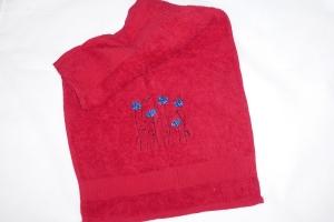 Gäste Handtuch bestickt mit Kornblumen , rot, von Dieda - Handarbeit kaufen