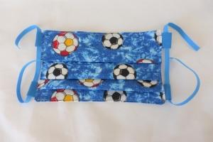 Behelfs-Mund-Nasen-Maske, Fußball, blau, DIY, größenverstellbares Gummiband in blau, Mundmaske, Behelfsmaske, Staubmaske, Baumwolle