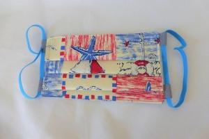 Behelfs-Mund-Nasen-Maske, maritim, blau, DIY, größenverstellbares Gummiband in blau, Mundmaske, Behelfsmaske, Staubmaske, Baumwolle