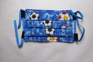 Behelfs-Mund-Nasen-Maske, Kinder, Fußball, blau, DIY, größenverstellbares Gummiband in blau, Mundmaske, Behelfsmaske, Staubmaske, Baumwolle