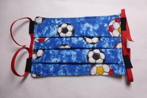 Behelfs-Mund-Nasen-Maske, Kinder, Fußball, blau, DIY, größenverstellbares Gummiband in rot, Mundmaske, Behelfsmaske, Staubmaske, Baumwolle