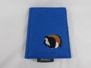 e-Reader Hülle, bestickt, Meerschweinchen, stabil, blau, Tasche für e-reader, mit Einlage, Buchbinderpappe von Dieda! - Handarbeit kaufen