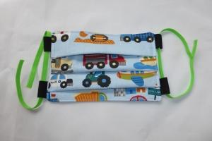 Behelfs-Mund-Nasen-Maske, Kinder, Fahrzeuge, größenverstellbares Gummiband in grün, DIY, Mundmaske, Behelfsmaske, Staubmaske, Baumwolle