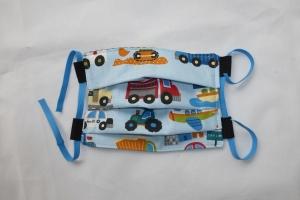 Behelfs-Mund-Nasen-Maske, Kinder, Fahrzeuge, größenverstellbares Gummiband in blau, DIY, Mundmaske, Behelfsmaske, Staubmaske, Baumwolle
