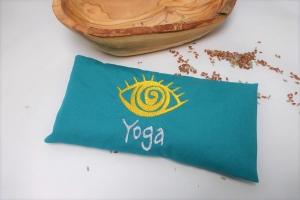 1 Stück handgemachtes Augenkissen Yoga, Auge, abnehmbarer Bezug, waschbar, petrol, Farbauswahl, mit Leinsamen und Lavendel, bestickt, Meditation, Entspannung, Dieda - Handarbeit kaufen