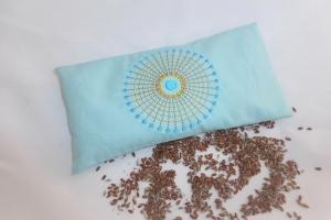 1 Stück besticktes Augenkissen Yoga, abnehmbarer Bezug, waschbar, mint, Sonne, Farbauswahl, mit Leinsamen und Lavendel, Meditation, Entspannung, Dieda - Handarbeit kaufen