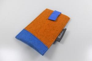 handgemachte Handytasche aus Wollfilz mit Ausziehhilfe, zweifarbig, Anfertigung nach Maß, Farbwunsch möglich, kaufen von Dieda - Handarbeit kaufen