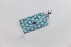 schickes Schlüsselmäppchen mit Reißverschlussfach, Schlüsseletui, beschichtete Baumwolle, mint, petrol, Portkey, Wittsich, Dieda - Handarbeit kaufen